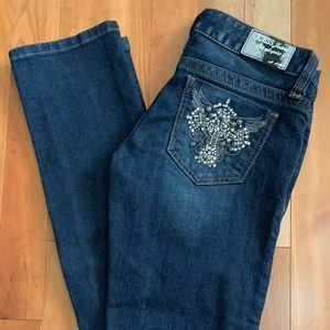 ⚡️Like-New Guess Skinny Jean Crystal wings pocket